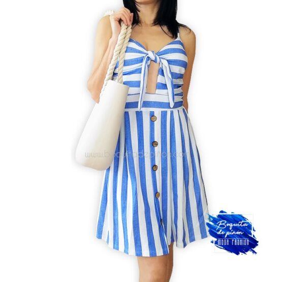 vestido corto tirantes de rayas azul