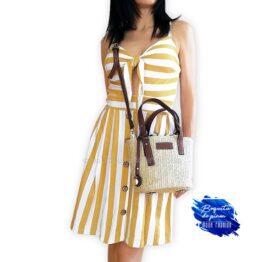 vestido corto tirantes de rayas mostaza