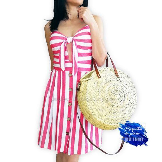 vestido corto tirantes de rayas rojo