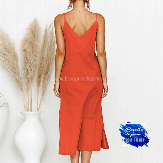 vestido mide tirantes naranja
