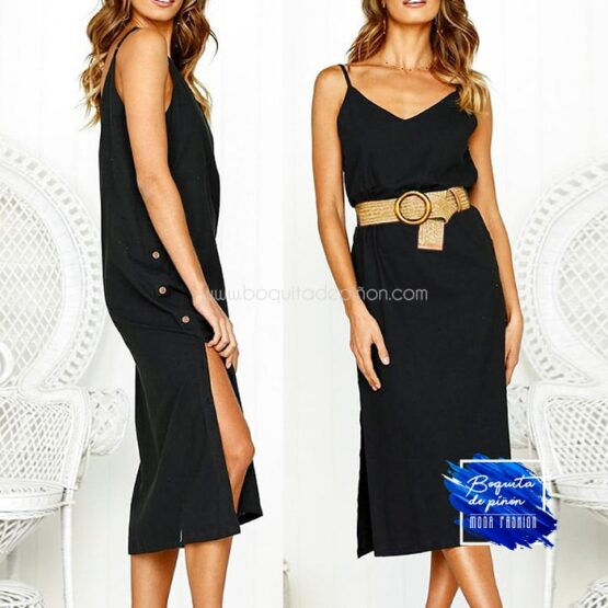 vestido mide tirantes negro