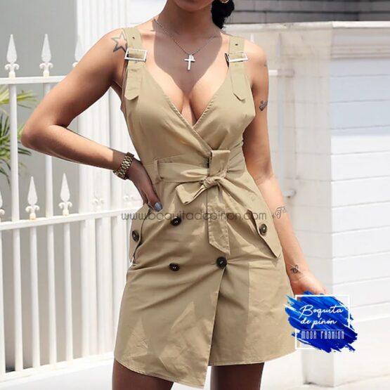vestido safari con cinturon