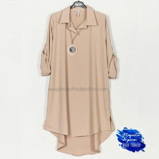 vestido fluido midi taupe marron