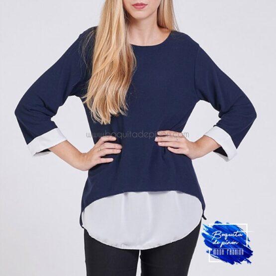 blusa combinada suelta azul marina