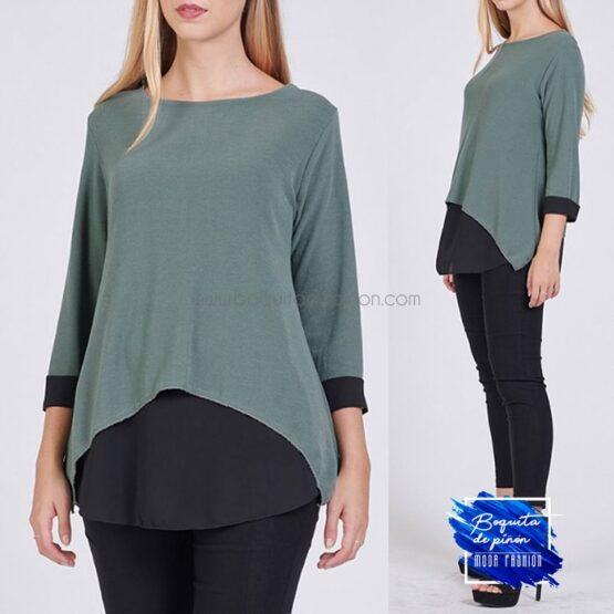blusa combinada suelta verde