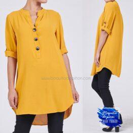 blusa lisa botones manga larga mostaza