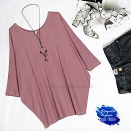 Camiseta oversize manga murcielago rosa clarito