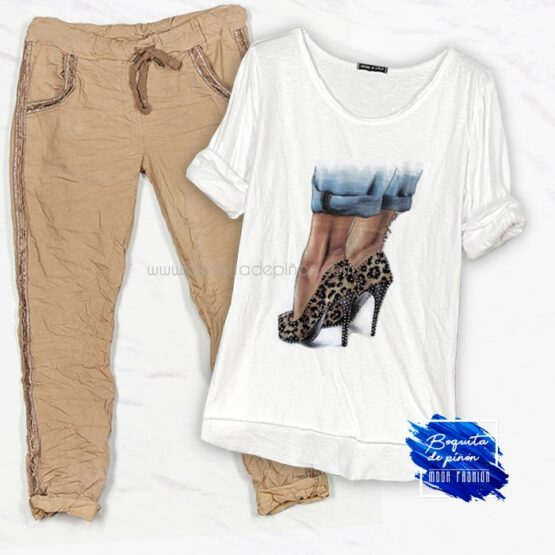 Camiseta tacones estampado leopardo