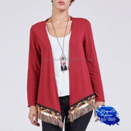 Cardigan bordado con top interior rojo