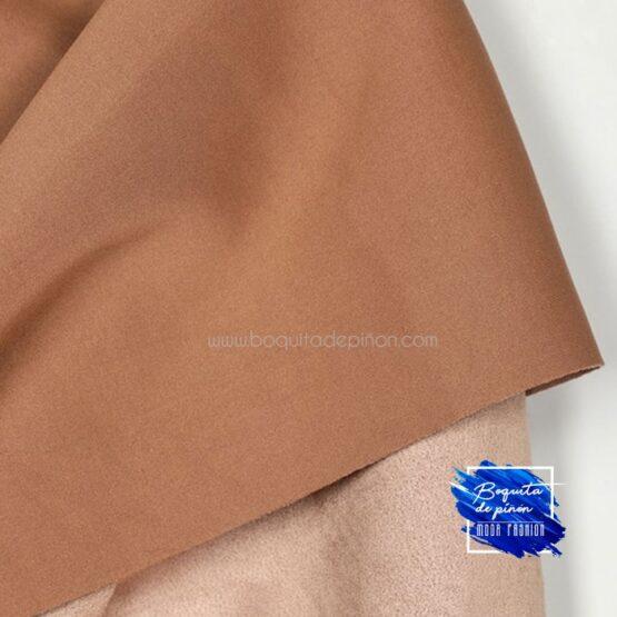 chaqueta larga antelina taupe marron