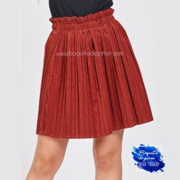 falda chenilla plisada granate