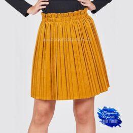 falda chenilla plisada mostaza