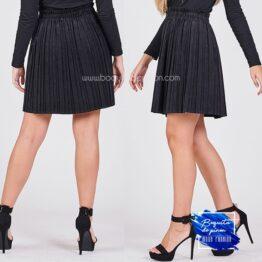 falda chenilla plisada negra