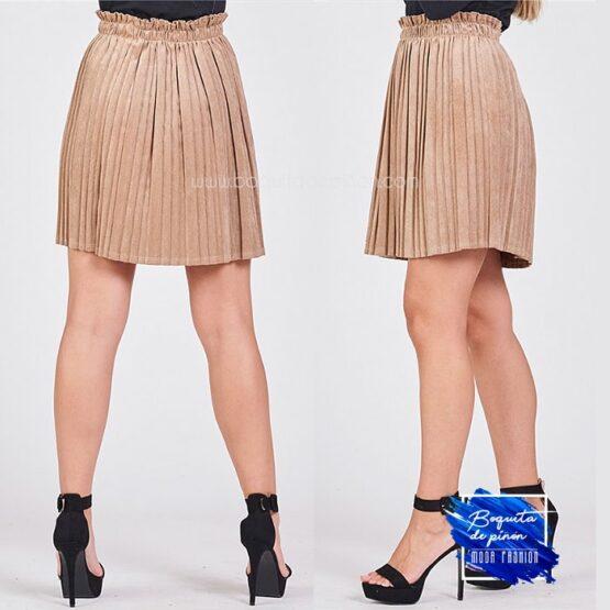 falda chenilla plisada taupe