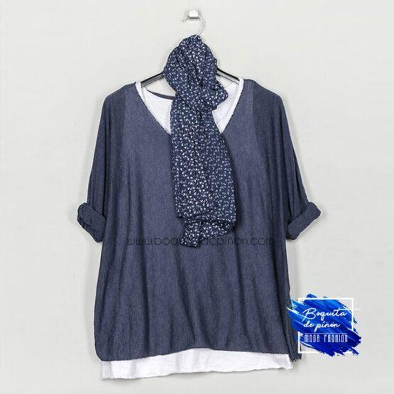 jersey con pañuelo azul marino