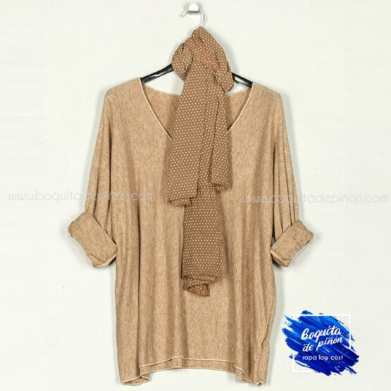 jersey con pañuelo beige