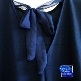 Vestido lazo manga larga gasa azul