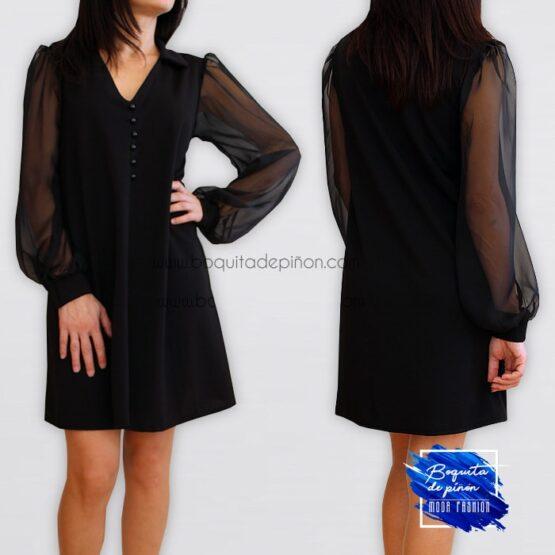 Vestido manga larga gasa negro