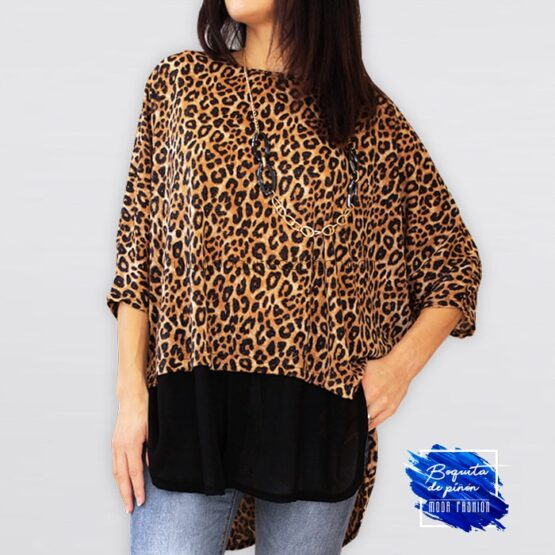 blusa metalizada animal print leopardo