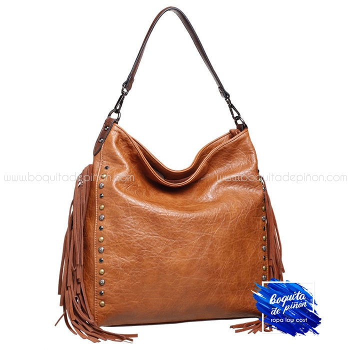 bolso shopper flecos marron