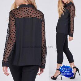camisa tul lunares negro