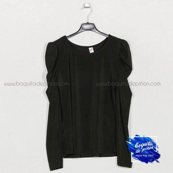 camiseta manga abullonada negra