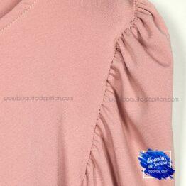 camiseta manga abullonada rosa
