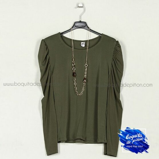camiseta manga abullonada verde