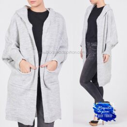 cardigan oversize capucha gris