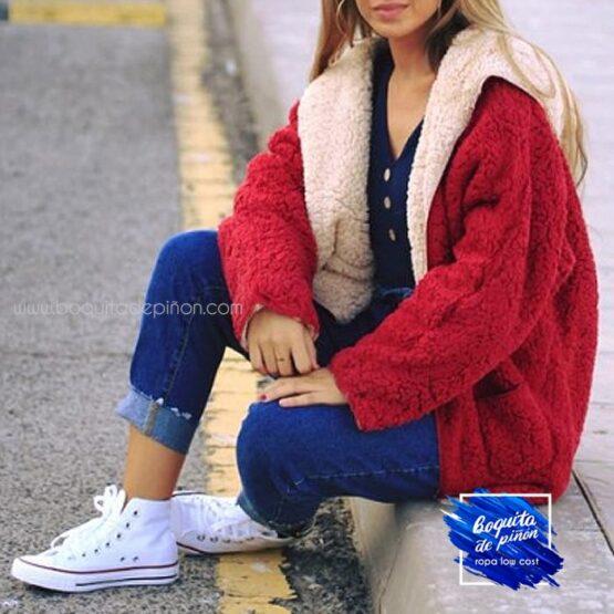chaqueta borreguito reversible roja mujer
