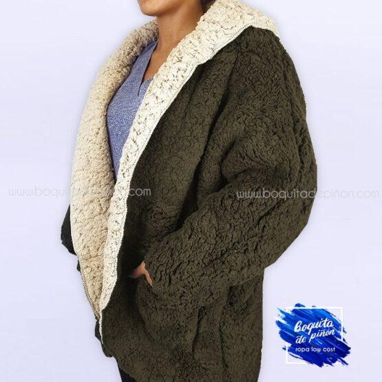 chaqueta borreguito reversible verde mujer