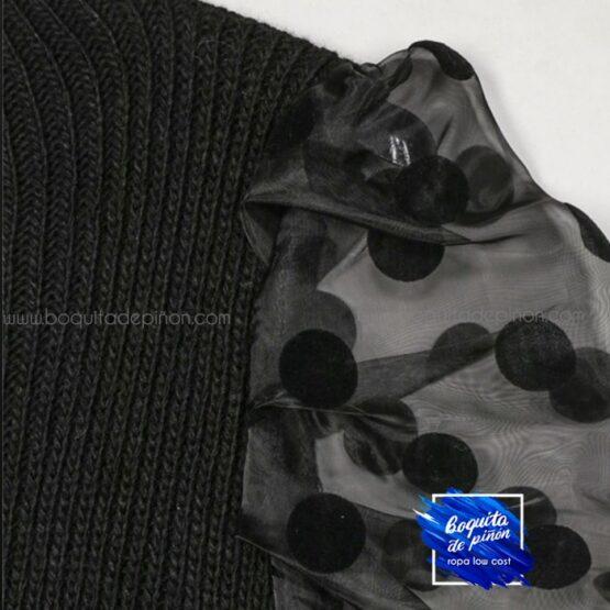 jersey manga tul negro