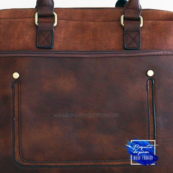 maletin portadocumentos bolsillos marron