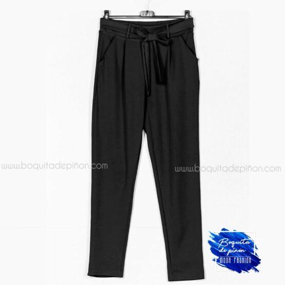 pantalon lazo tiro alto negro