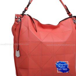 bolso shoppercalado grande rojo teja