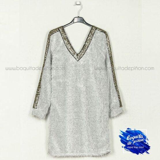 vestido lentejuelas con pelo de punto gris