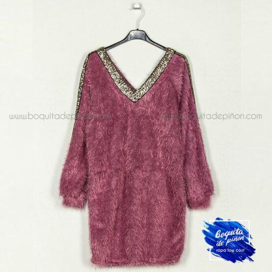 vestido lentejuelas con pelo de punto lila