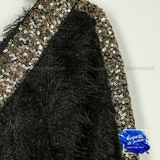 vestido lentejuelas con pelo de punto negro