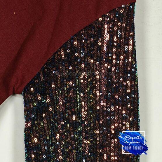 vestido lentejuelas multicolor de algodon granate