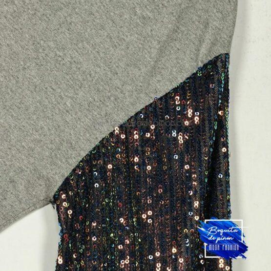 vestido lentejuelas multicolor de algodon gris