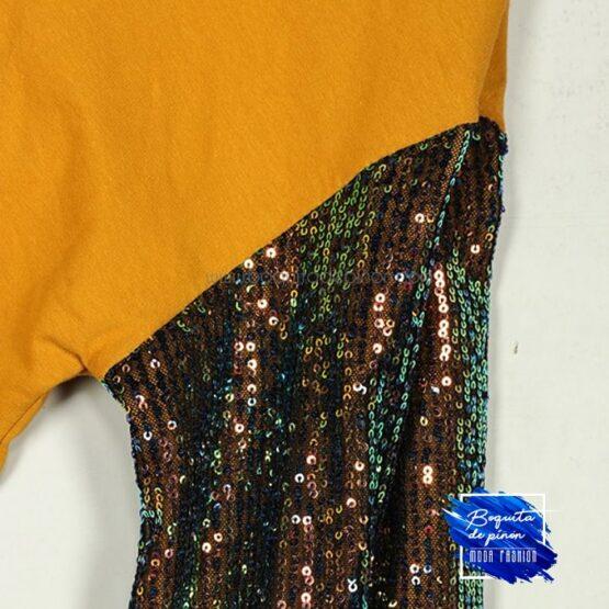 vestido lentejuelas multicolor de algodon mostaza