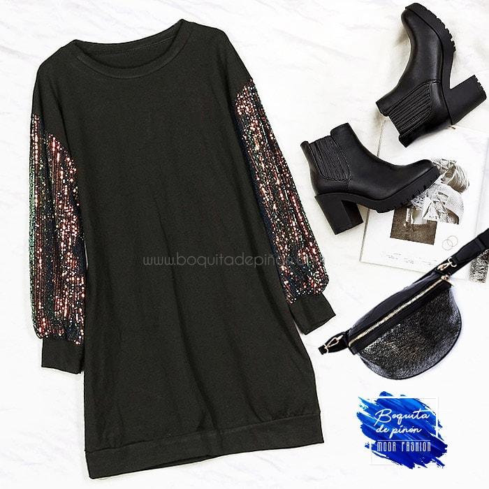 vestido lentejuelas multicolor de algodon negro