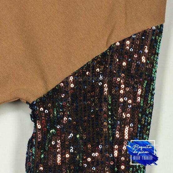 vestido lentejuelas multicolor de algodon camel