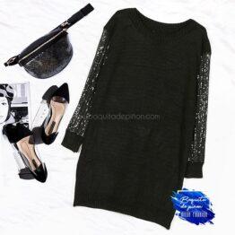 vestido lentejuelas plateadas de punto negro