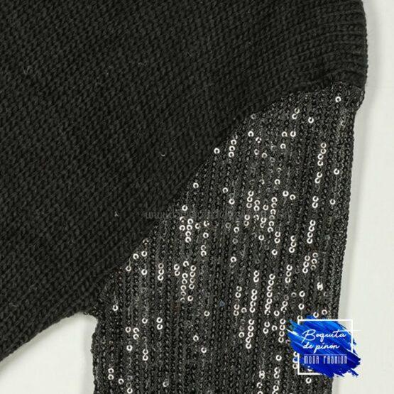vestido lentejuelas negras de punto