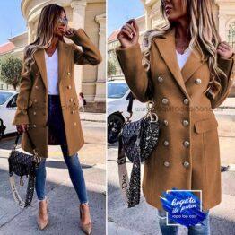 abrigo doble botonadura camel