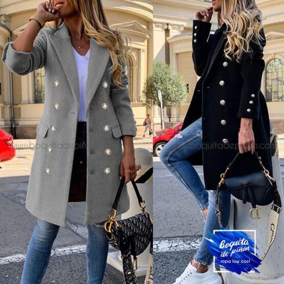 abrigo doble botonadura negro gris