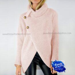 jersey cuello alto rosa clarito