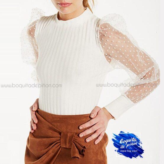 jersey manga tul blanco