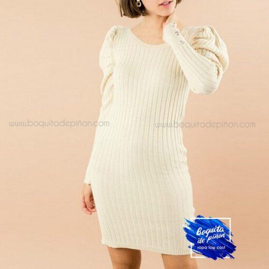 vestido ajustado mangas abullonadas beige